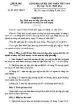 Nghị định số 47/2012/NĐ-CP quy định mức trợ cấp, phụ cấp ưu đãi đối với người có công với cách mạng