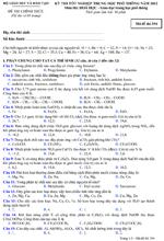 Đề thi tốt nghiệp THPT môn Hóa học hệ Phổ thông năm 2012 - Mã đề 394 đề thi tn thpt môn hóa