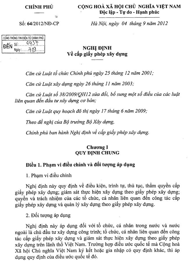 Nghị định số 64/2012/NĐ-CP của Chính phủ