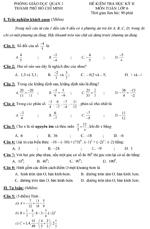 Đề kiểm tra học kì II lớp 6 môn Toán - Phòng Giáo dục Quận 3 TPHCM đề kiểm tra môn toán