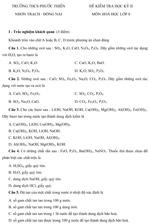 Đề kiểm tra học kì II lớp 8 môn Hóa học - THCS Phước Thiền, Đồng Nai đề kiểm tra môn hóa