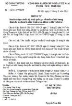 Thông tư số 14/2012/TT-BCT ban hành quy chuẩn kỹ thuật quốc gia về thuốc nổ nhũ tương dùng cho mỏ hầm lò