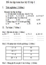 Đề ôn tập Toán học kì II lớp 1 đề thi toán lớp 1