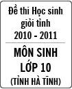 Đề thi học sinh giỏi tỉnh Hà Tĩnh môn Sinh học lớp 10 năm học 2010 - 2011