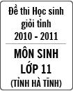 Đề thi học sinh giỏi tỉnh Hà Tĩnh môn Sinh học lớp 11 năm học 2010 - 2011