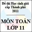 Đề thi học sinh giỏi thành phố Đà Nẵng môn Toán lớp 11 năm học 2010 - 2011 (Có đáp án)