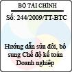 Thông tư số 244/2009/TT-BTC