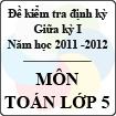 Đề kiểm tra giữa kỳ môn Toán lớp 5 năm học 2011 - 2012