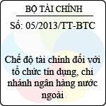 Thông tư 05/2013/TT-BTC hướng dẫn chế độ tài chính đối với tổ chức tín dụng, chi nhánh ngân hàng nước ngoài