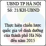 Kế hoạch 21/2013/KH-UBND thực hiện chiến lược quốc gia về dinh dưỡng của thành phố hà nội đến năm 2015
