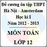 Đề cương ôn tập học kỳ I lớp 12 môn Toán năm học 2012 - 2013 (THPT chuyên Hà Nội - Amsterdam) đề cương ôn tập