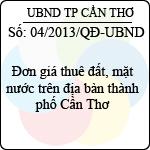 Quyết định 04/2013/QĐ-UBND của UBND tỉnh Đăk Lăk đơn giá thuê đất, mặt nước trên địa bàn thành phố cần thơ