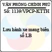 Công văn 1139/2013/VPCP-KTTH