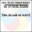 Công văn 07/2013/XNK-XXHH