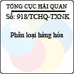 Công văn 918/2013/TCHQ-TXNK