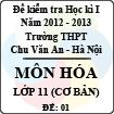 Đề thi học kì I môn Hóa lớp 11 cơ bản dành cho các lớp D (Đề 01) - THPT Chu Văn An (2012 - 2013)