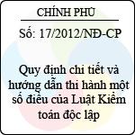 Nghị định 17/2012/NĐ-CP quy định chi tiết và hướng dẫn thi hành một số điều của luật kiểm toán độc lập
