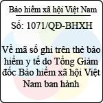 Quyết định 1071/QĐ-BHXH về mã số ghi trên thẻ bảo hiểm y tế do tổng giám đốc bảo hiểm xã hội việt nam ban hành