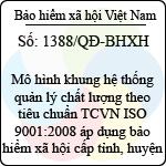 Quyết định 1388/QĐ-BHXH ban hành mô hình khung hệ thống quản lý chất lượng theo tiêu chuẩn tcvn iso 9001:2008 áp dụng bảo hiểm xã hội cấp tỉnh, huyện