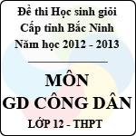 Đề thi học sinh giỏi tỉnh Bắc Ninh năm 2012 - 2013 môn Giáo dục công dân lớp 12 (Có đáp án) đề thi học sinh giỏi