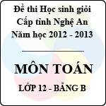 Đề thi học sinh giỏi tỉnh Nghệ An năm 2012 - 2013 môn Toán lớp 12 Bảng B (Có đáp án) sở gd&đt nghệ an