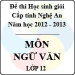 Đề thi học sinh giỏi tỉnh Nghệ An năm 2012 - 2013 môn Ngữ văn lớp 12 (Có đáp án) đề thi học sinh giỏi