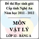 Đề thi học sinh giỏi tỉnh Nghệ An năm 2011 - 2012 môn Vật lý lớp 12 Bảng A sở gd&đt nghệ an