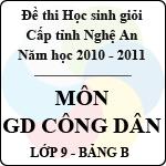 Đề thi học sinh giỏi tỉnh Nghệ An năm 2010 - 2011 môn Giáo dục công dân lớp 9 Bảng B (Có đáp án) sở gd&đt nghệ an