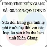 Quyết định 08/2013/QĐ-UBND của tỉnh Kiên Giang sửa đổi bảng giá tính lệ phí trước bạ đối với các loại tài sản trên địa bàn tỉnh kiên giang