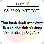Thông tư 33/2012/TT-BYT ban hành danh mục dược liệu có độc tính sử dụng làm thuốc tại việt nam