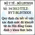 Thông tư liên tịch 34/2012/TTLT-BYT-BLĐTBXH quy định chi tiết về việc xác định mức độ khuyết tật do hội đồng giám định y khoa thực hiện