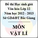 Đề thi học sinh giỏi Văn hóa lớp 12 tỉnh Bắc Giang năm học 2012 - 2013 môn Vật lý - Có đáp án đề thi môn vật lý