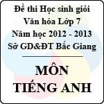 Đề thi học sinh giỏi Văn hóa lớp 7 tỉnh Bắc Giang năm học 2012 - 2013 môn Tiếng Anh - Có đáp án sở gd&đt bắc giang