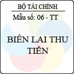 Biểu mẫu Biên lai thu tiền ban hành theo quyết định số: 48/2006/qđ-btc ngày 14/9/2006 của bộ trưởng bộ tài chính