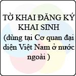 Tờ khai đăng ký khai sinh tại cơ quan đại diện Việt Nam ở nước ngoài