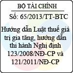 Thông tư 65/2013/TT-BTC hướng dẫn luật thuế giá trị gia tăng