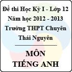 Đề thi học kỳ I lớp 12 THPT chuyên Thái Nguyên năm 2012 - 2013 môn Tiếng Anh (Có đáp án) đề thi học kỳ i