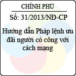 Nghị định 31/2013/NĐ-CP hướng dẫn pháp lệnh ưu đãi người có công với cách mạng