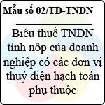 Mẫu số 02/TĐ-TNDN: Biểu thuế thu nhập doanh nghiệp tính nộp của doanh nghiệp có các đơn vị thủy điện hạch toán phụ thuộc mẫu khai thuế đối với thủy điện