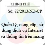 Nghị định số 72/2013/NĐ-CP quản lý, cung cấp, sử dụng dịch vụ internet và thông tin trên mạng