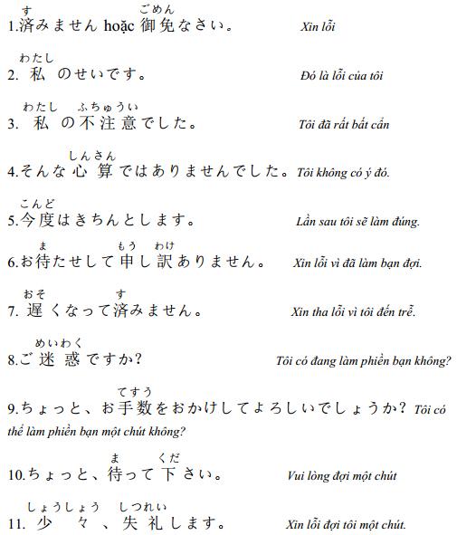 Những câu giao tiếp Tiếng Nhật thông dụng