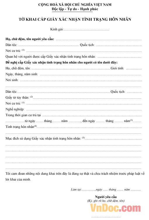 Mẫu tờ khai xác nhận tình trạng hôn nhân