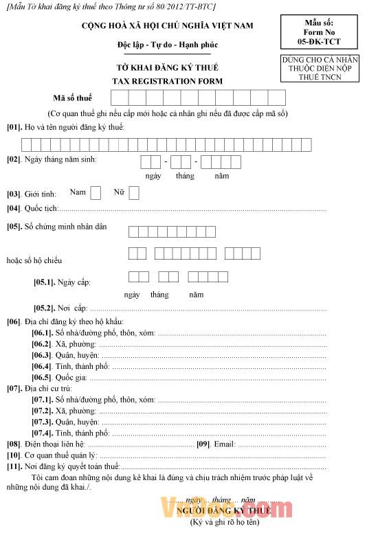 Mẫu 05-ĐK-TCT - Tờ khai đăng ký thuế