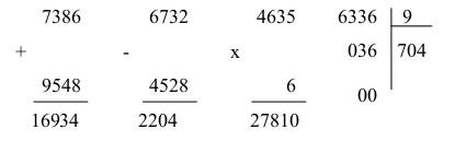 Đáp án đề thi môn toán lớp 3